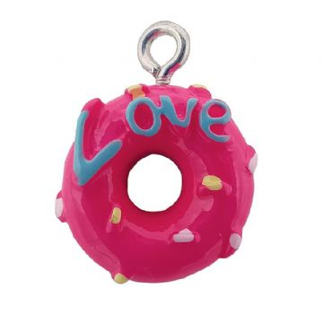 "Acrylic Hot Pink ""Love"" Doughnut Whole 13mm"